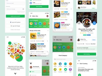 Food Recipe - Mobile Apps (Rebound) sketch adobe xd figma apps clean fun colourful green recipe uxui uiux mobile apps shoot flat ux minimalist design simple graphic design ui