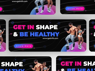 Fitness Gym Banner Concept sandy health ads health app healthy banner health ui health web ui sandeep gym banner gym gym flyer fitness banner banner ads ads design ads banner team concept