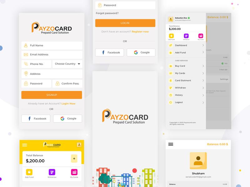 Payzocard App Design banking app mobile app card desgin master card pay card payment app app cardboard splash signup payzocard sandeep money transfer online money card app card design payment card card