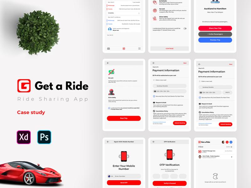 Get a Ride Mobile App user interface ads banner freebie file xd design sandeep mobile ui sharing car rental app vehicle car pooling pool ride sharing app rideshare ride share get