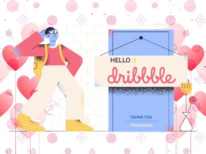 Hello, Dribbble! ux web ui sandeep-mandloi mandloi sandeep landing vector icon branding logo hello dribble hello firstshot app illustrator illustraion