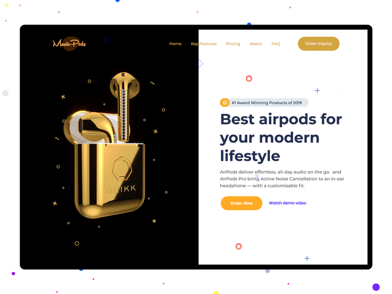 Music Airpods Product Site Concept sandy header design banner ad banner design card card design product card order product branding sandeep golden music app music webdesign ecommerce product website airpods apple design apple