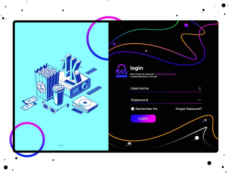 Login Form Concept Design sandy banner cardboard card bank bank card branding sandeep illustraion movie movies login design login page login screen web ui mobile ui web finance login form form