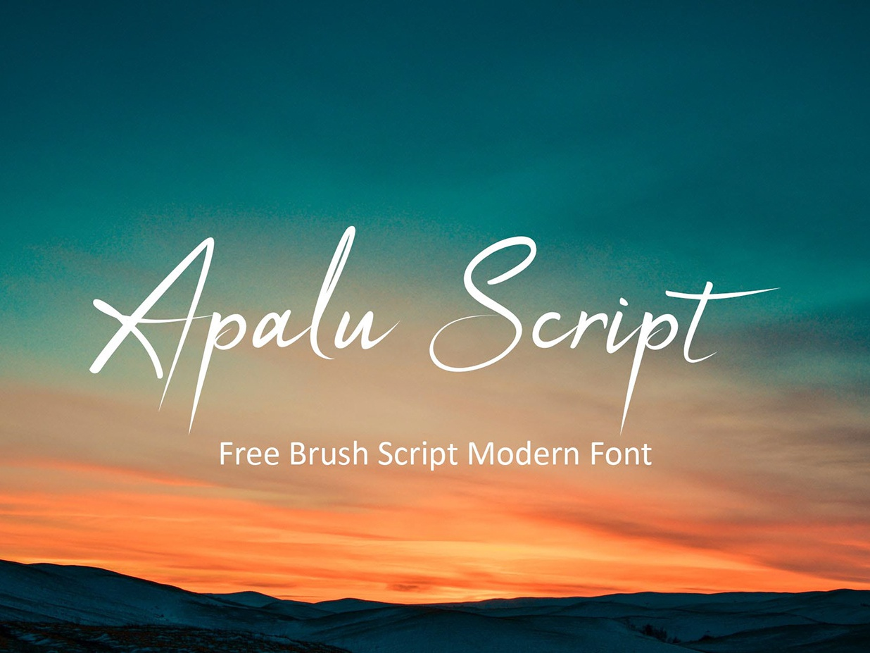 Apalu - Free Brush Script Modern Font logo freebie freebies posters packaging greeting cards design business cards logos quotes clothes fashions letters invitations typography typeface branding free typeface free font font