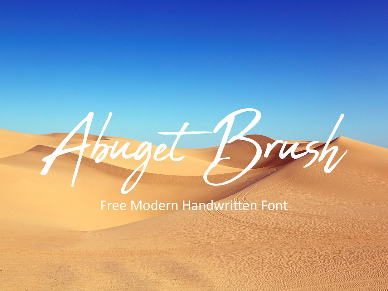 Abuget Brush - Free Modern Handwritten Font freebie clothing freebies posters packaging greeting cards design business cards logos quotes clothes fashions letters invitations typography typeface branding free typeface free font font