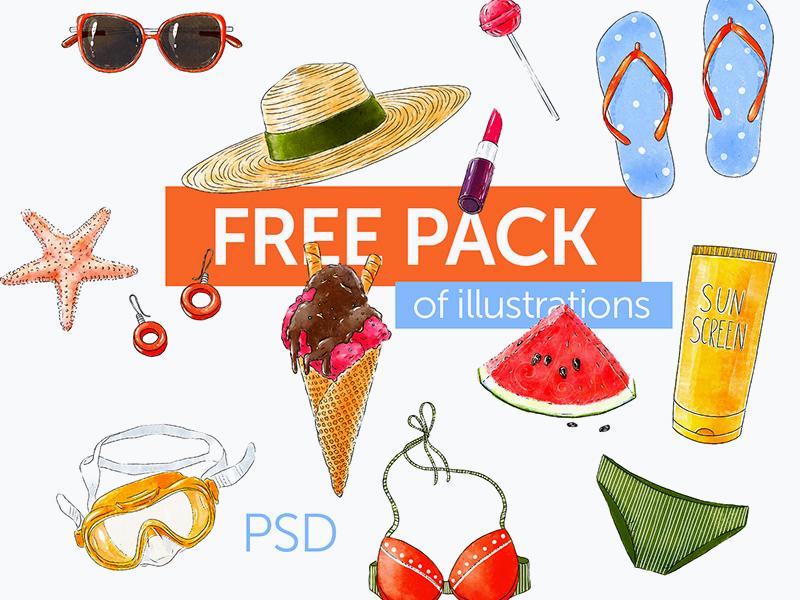 Free Summer Illustration Pack PSD illustration art psd illustration freebies