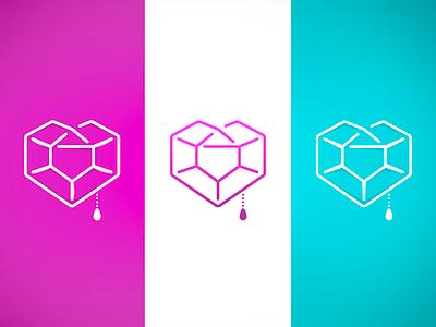 Glowing Heart Logo work in progress brand identity logo design wip