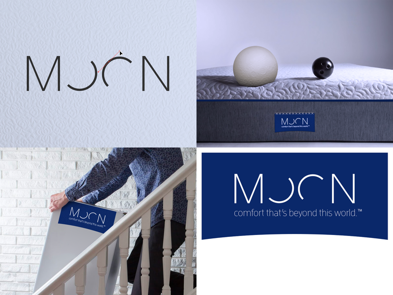 Moon Logo mock-up moon mattress brand identity logo design