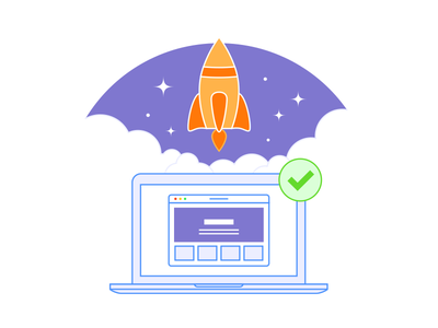 Laptop & Rocket top website star rocket missile laptop computer clouds checkmark app icon illustration