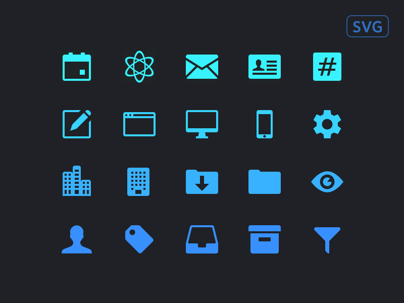 Dashboard Icons download vector sketch user profile atom mail eye filter icon set svg