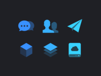Big Icons pixel perfect hard drive cloud drive stack cube paper plane people conversation chat icon navigation