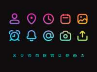 Bold Line Icons vector icons pack iconset iconography icon set hollow outline mark bell notification calendar location pin at symbol image user interface upload alarm clock thick gradient round