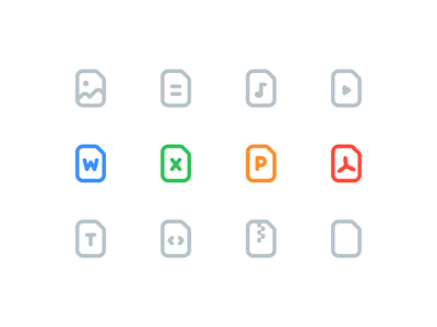 Juicy File Icons video music documents doc word powerpoint excel code pdf text file zip archive ppt rounded corners outline icon file types file icon icon set iconography icon juicy