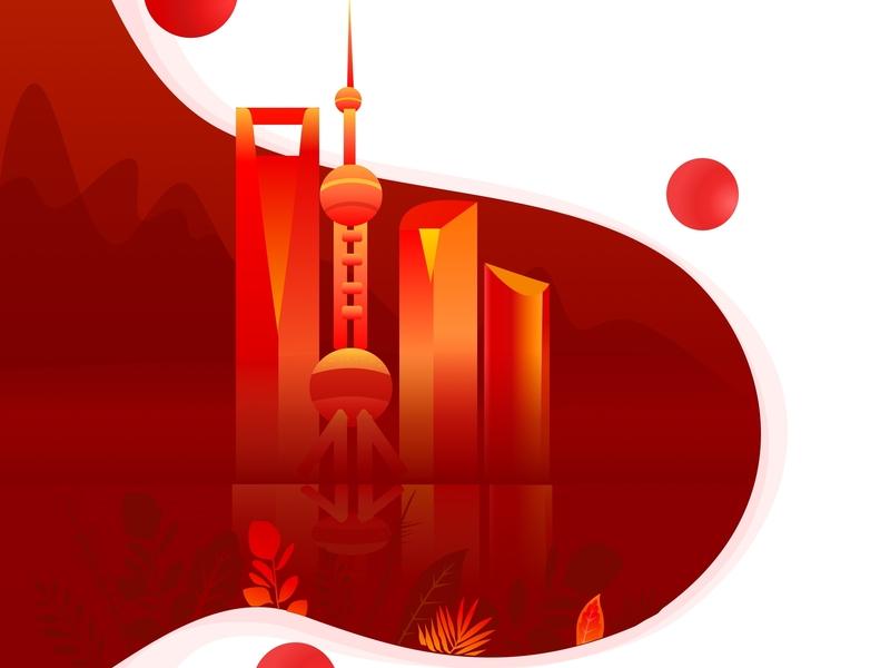 Shanghai web vector illustration
