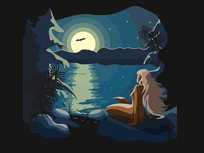 New Shot - 05/02/2019 at 06:38 PM луна летучая мышь озеро лес ночь mermaid девушка дизайн illustration