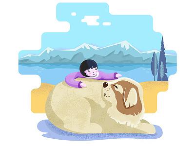 Девочка и собака берег горы море собака девочка иллюстрация