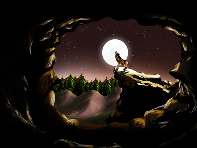Digital Fantasy Painting Illustration wild animal moonlight forest caves night lighting effects concept art digital painting illustration