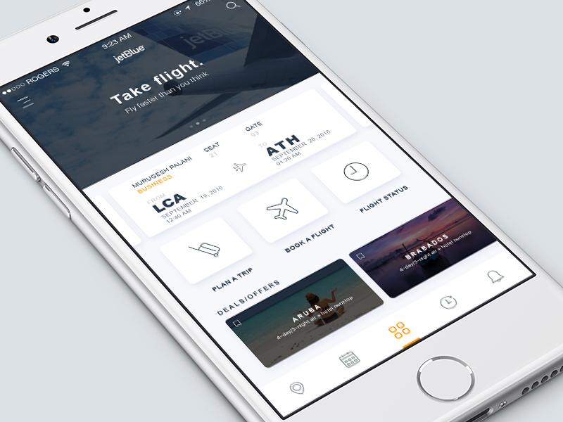 Airways IOS App trip location travel tickets booking mobile app flight flat ux ui ios