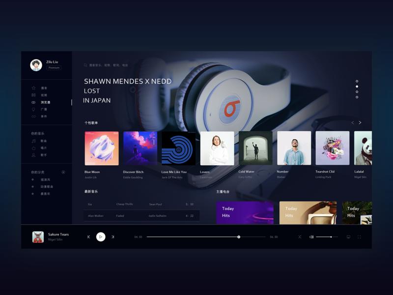 音乐_dashboard music player dashboard branding website ui web design