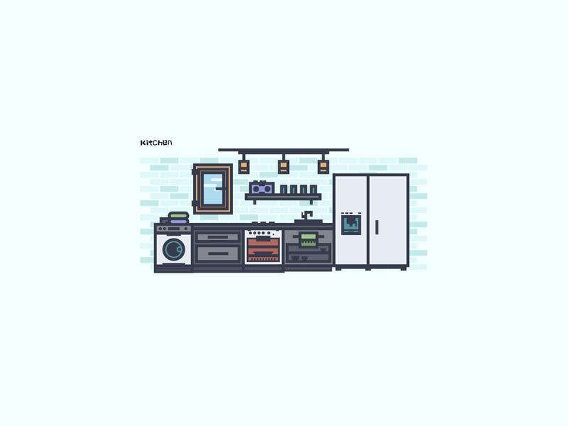 现代厨房_ branding web app ui illustration logo design icon