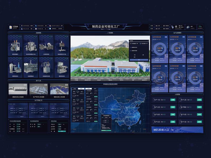 可视化工厂_factory branding vector 界面设计 大数据 可视化 ui design website web ui design