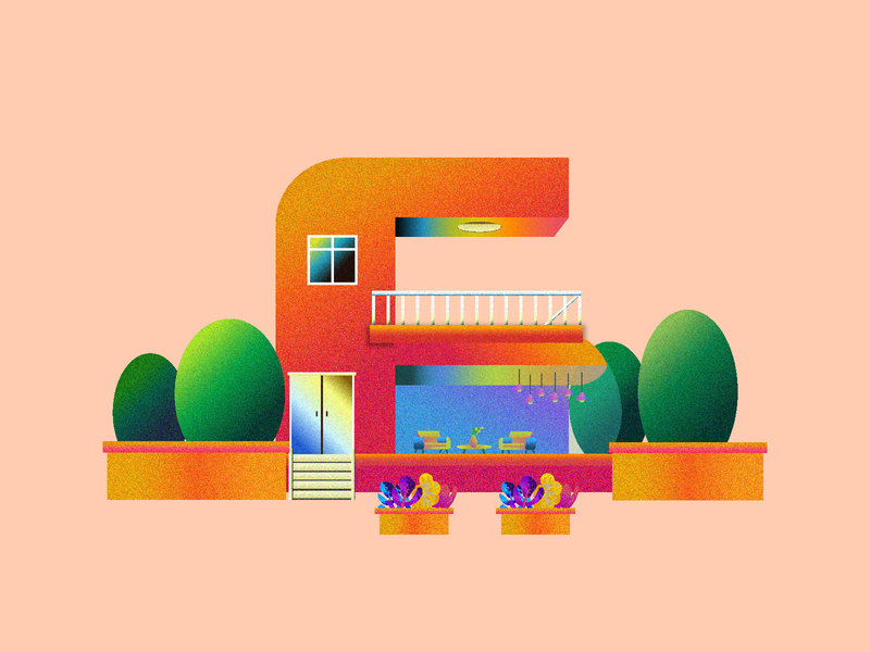 现代化颗粒质感House_illustration illustrations 插画 web typography logo design illustration