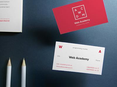 Web Academy - programming courses typogaphy logo design academy branding business card