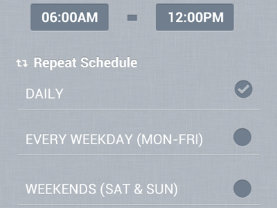 Scheduler scheduler checkbox list android mobile time