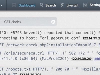 Logcast - Better header menu logging data menu header dark