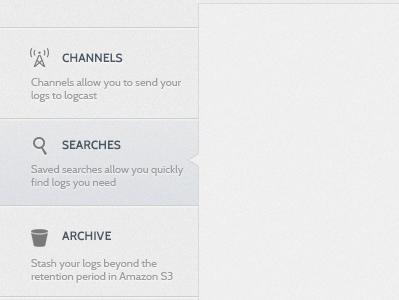 Logcast - Settings panel settings tabs soft