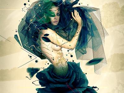 Mysteria photoshop flower mystery illustration rose woman graphicdesign digital