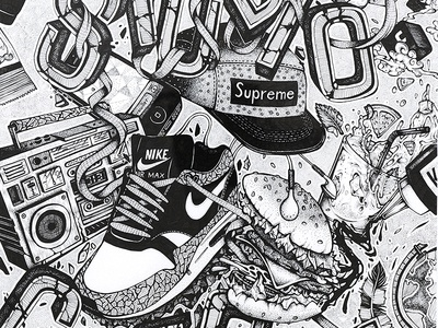 Urban Culture urban street illustration draw drawing black dot culture graffiti typography burger mojto blaster