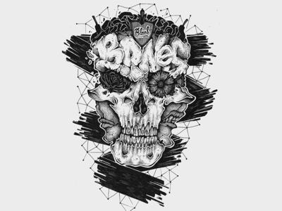 Black Bones Club illustration pen black bones skull face draw drawing typography lettering