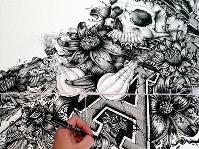 Food & Vanity illustration posca bones skull draw drawing sketch canvas typography type lettering hand lettering