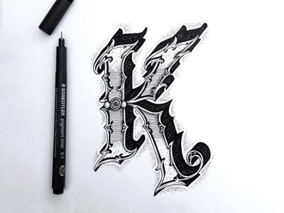 K type typo typography lettering hand lettering letters letter script handmade handtype
