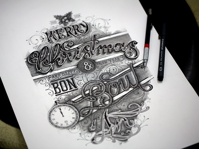 Christmas & New Year [2013-2014] type typo typography lettering hand lettering letters letter script handmade handtype