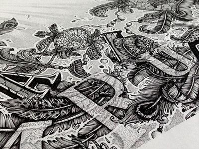[MARIUS] Dreamcatcher drawing illustration dreamcatcher dream feather handmade dot work letter typography pattern draw