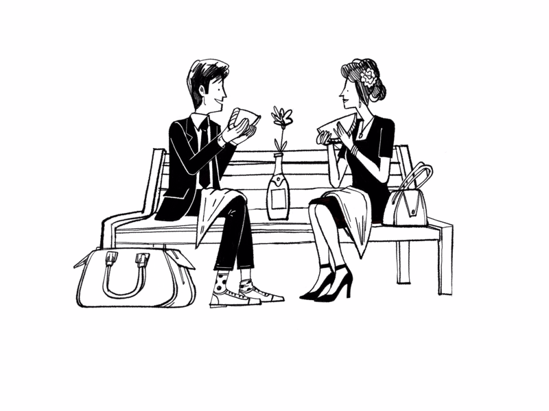 Romantic meal black and white humour character people spot illustration book illustration line drawing illustration