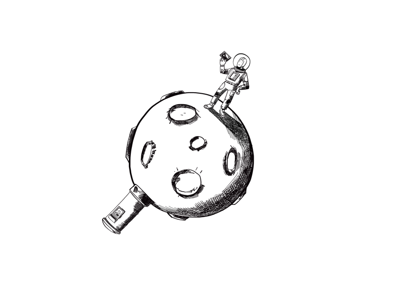 Space post black and white line drawing humour space illustration character