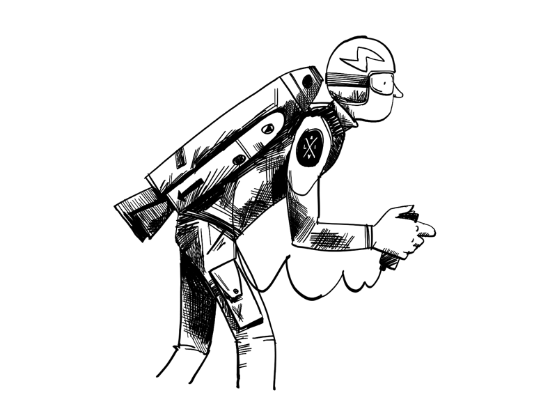 Jet pack line drawing black and white monochrome illustration character