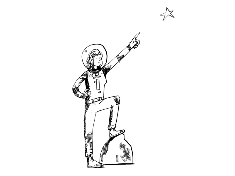 Explorer line drawing black and white monochrome illustration character
