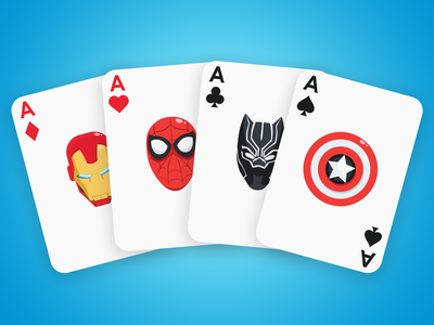 Avengers Playing Cards playing card captainamerica blackpanther ironman spiderman avengers vector illustration design