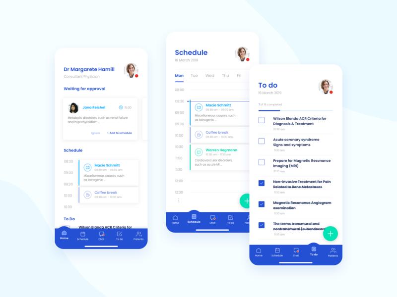 Time Managing App for Medical Personnel schedule tasks timeline medical debut design ux  ui