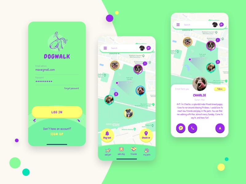 Dog Walk dog illustration ui map dog design app