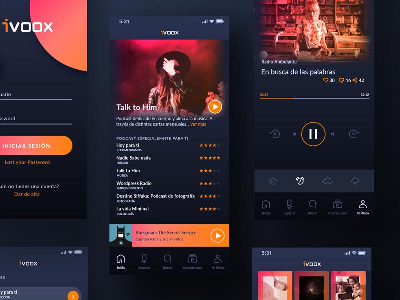 iVoox podcast kit redesgin design web podcast responsive design ux ui app ivoox