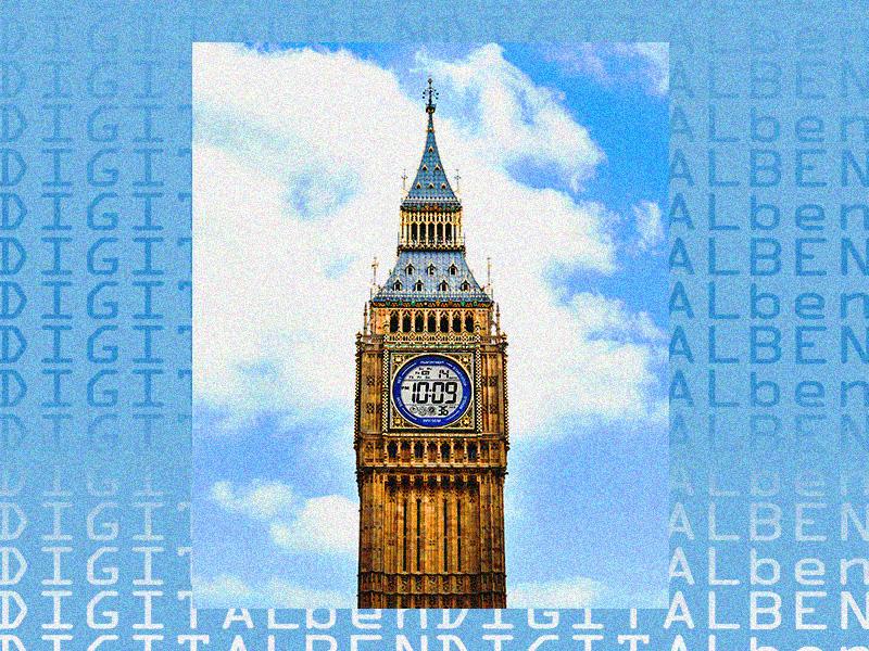 Digital Ben blue gradient freelance london big ben illustration poster art poster design