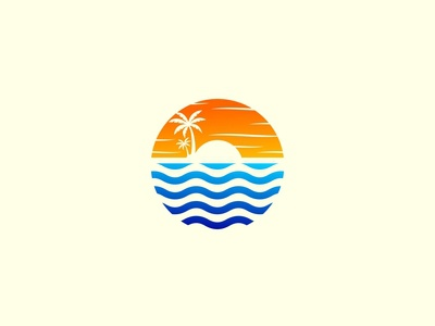 Sunset and Beach Logo