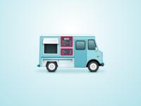 Food truck menu van car food truck pizza food blue art illustration graphic icon truck