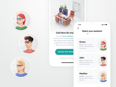 Select your assistant vector design mobile animation ios app product ux ui illustration green clean iphone smart assistant 3d animation 3d art 3d
