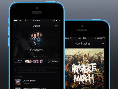 ♫ Music dribbble ♫ music music player iphone app ios mobile artist dark whitney web wip